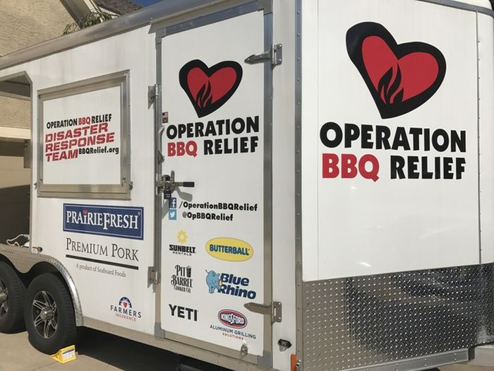 Operation BBQ serves hot meals to aid people stuck in Hurricane Harvey in Houston